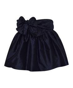 Look what I found on #zulily! Navy Silk Bow A-Line Skirt - Toddler & Girls #zulilyfinds