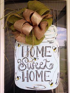 Mason Jar Handpainted Door Hanger with Bow by TartsbyMiranda