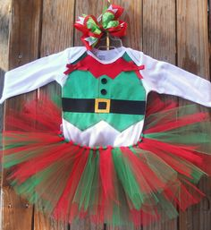 Baby girl Custom Elf tutu outfit/costume with matching hairbow. $40.00, via Etsy.