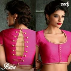 Blouse back neck designs are everything when it comes to picking a good blouse. Here are 40 latest blouse back neck designs that will inspire you to stitch the best blouse for your big day! Blouse Back Neck Designs, Stylish Blouse Design, Fancy Blouse Designs, Latest Saree Blouse Designs, Blouse Styles, Blouse Designs Wedding, Indian Blouse Designs, Saree Jacket Designs, Choli Blouse Design