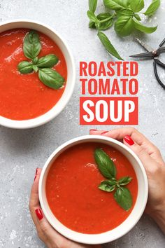 Prepare this delicious roasted tomato soup. It's super easy to make, quick, and it's delicious! You will only need a few ingredients.  #tomatoes #roastedtomatosoup #tomatosouprecipe #quickdinnerrecipes #easyrecipe