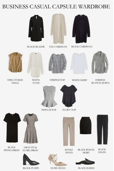 Make your casual capsule wardrobe go the distance by adding some of these pieces. - Outfits for Work Make your casual capsule wardrobe go the distance by adding some of these pieces. Capsule Wardrobe Work, Capsule Outfits, Fashion Capsule, Mode Outfits, Fashion Outfits, Office Wardrobe, Summer Work Wardrobe, Wardrobe Basics, Work Wardrobe Essentials
