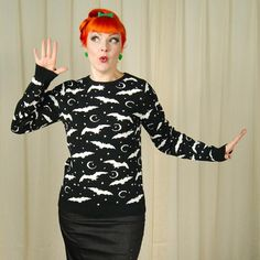 Too Fast Brand Moon Bats Cult Sweater for sale at Cats Like Us - 4