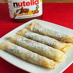 Nutella Crepes    3  oz  butter  2  each  large eggs  1  each egg yolk  ½ cup water  1  cup  milk  ¼  tsp salt  1  cup  all-purpose flour  ½  cup  Nutella  *Optional Toppings: Strawberries, powdered sugar  1.  Melt the butter in a medium non-stick pan.  Once the butter is melted, continue to cook until golden brown. Turn off heat. The residual h