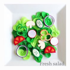 Pretend Felt food How to make Fresh salad by TomomoHandmade