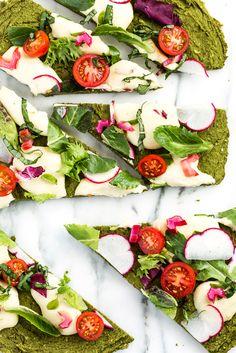 vegan & gluten-free green split pea + spinach pizza crust