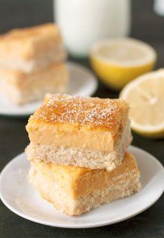 Paleo Lemon Bars (grain-free, gluten-free, dairy-free) - Texanerin Baking Gluten Free Treats, Gluten Free Baking, Gluten Free Desserts, Healthy Desserts, Delicious Desserts, Yummy Food, Paleo Dessert, Healthy Sweets, Dessert Recipes