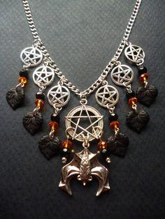 Pentagram and Bat necklace  Gothic Bat necklace  by BleedingHD