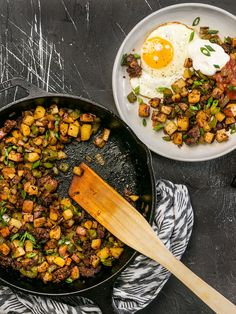 """This simple but tasty Chorizo Breakfast Hash is a breakfast classic. Perfect for your lazy weekend brunch, or even """"breakfast for dinner"""". BudgetBytes.com"""