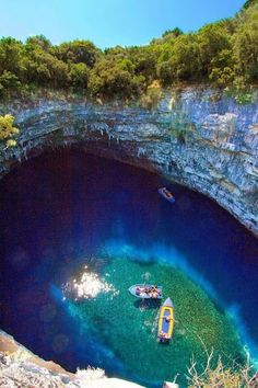 Melissani Cave, Kefalonia, Ionian Islands, Greece - Travel inspiration and places to visit Places To Travel, Places To See, Travel Destinations, Dream Vacations, Vacation Spots, Wonderful Places, Beautiful Places, Amazing Places, Magic Places