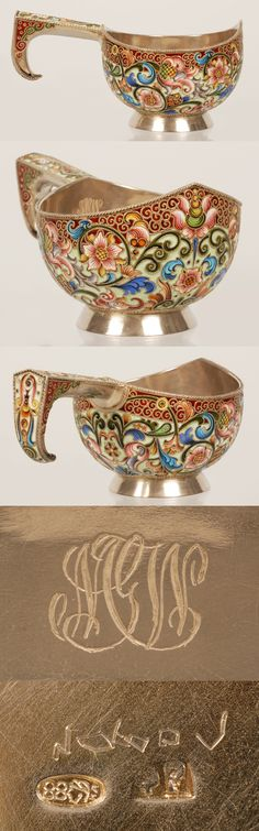 A Russian silver gilt and shaded cloisonne enamel kovsh, Feodor Ruckert, Moscow, circa 1896-1908. of traditional form with an angled hook-shape handle, the kovsh is decorated in scrolling mulit-color shaded floral motif against a red and seafoam green enamel ground