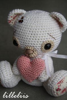 Wedding gift - white merino bear holding a heart