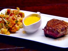 Seared Steak Served with Hollandaise, Roasted Pumpkin, Cauliflower and Pine Nuts Pine Nut Recipes, Beef Recipes, Healthy Recipes, Healthy Foods, Master Chef, Masterchef Recipes, Masterchef Australia, Roast Pumpkin, Beef Ribs
