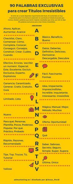 90 palabras irresistibles para crear títulos irresistibles #infiografia #infographic | TICs y Formación
