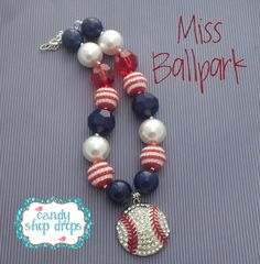 CSD Miss Ball Park Chunky Necklace, Girls Necklace, Photo Prop, Bubblegum Necklace
