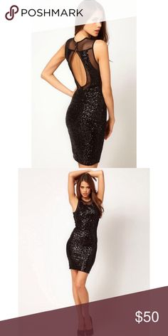 Sequin Backless Dress TFNC Sequin & Mesh Dress with Open Back. Worn once. ASOS Dresses Backless