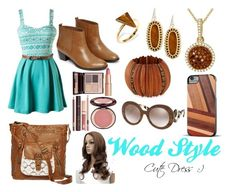 """""""Wood Style"""" by snowboarder17 ❤ liked on Polyvore featuring Warehouse, T-shirt & Jeans, Ona Chan, Kendra Scott, Kenneth Jay Lane, Charlotte Tilbury, Recover, Prada and wooden"""