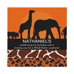 Wild Safari Kid's Birthday Party Invitation