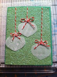 Christmas card with scrapbook paper and bakers twine