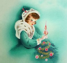 VINTAGE CHRISTMAS CARD PRETTY LADY FUR CAPE PLACES INDENT TREE TOPPER AQUA PINK | eBay