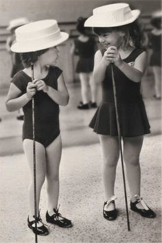 Straw hat and cane.