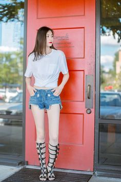#summer #outfit by #alexanderwang top n #balmain shorts n chanel sandal.  from @ladystyle's closet #tbyalexanderwang