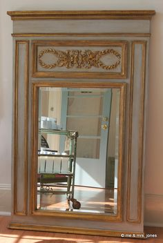 an elegant mirror jessica mayhall did for one of our custom clients...chalk paint® in paris grey with gilding waxes and clear & dark soft wax. | me & mrs. jones, memphis
