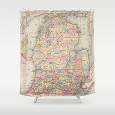 Vintage Map Of Michigan Shower Curtain