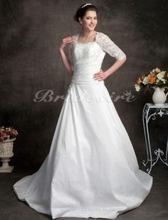 Bridesire - Ball Gown Sweetheart Lace Satin Court Train Wedding Dress [329908] - US$209.99 : Bridesire