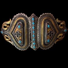tipologia: cinture -   provenienza: Afghanistan -   materiale: argento doratura turchese