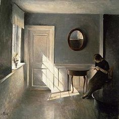 Girl Reading a Letter in an Interior (1908) by Peter Ilsted