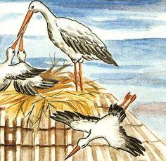 Baby Stork, Spring Birds, Spring Crafts, Art For Kids, Fairy Tales, Preschool, Storks, Clip Art, Activities