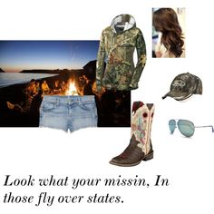 """Fly over states"" by cowgirl14 on Polyvore. I'd wear jeans and not the shorts. I'm pretty conservative with dressing. Hahah."