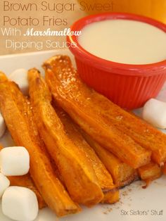 Sweet Potato Fries with Marshmallow Dipping Sauce on SixSistersStuff.com - this is my kids favorite way to eat sweet potatoes!