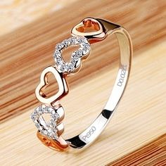 Delicate NSCD Diamond Heart 950 Pt Silver Ring
