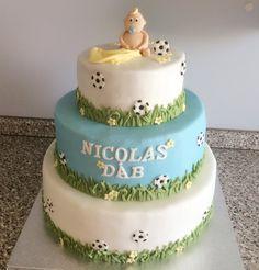 Fondant kage, dåbskage med baby og fodbold tema