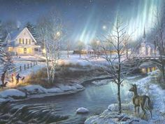 Winter images Thomas Kinkade Winter HD wallpaper and background Beautiful Christmas Scenes, Christmas Scenery, Magical Christmas, Country Christmas, Christmas Pictures, Christmas Art, Christmas Night, Christmas Landscape, Christmas Graphics