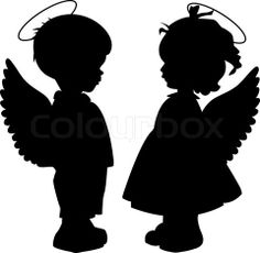 Baby Angel Silhouette | Stock vector of 'Angel silhouettes set'