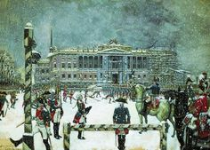 Alexandre Benois - Military Parade of Emperor Paul in front of Mikhaylovsky Castle, 1907