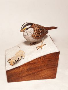 White throated sparrow carving By Tim McEachern.  www.natureswings.org
