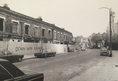 Anti 'comprehensive redevelopment' graffitti, Dartmouth Park Hill, London Borough of Camden 1976