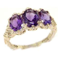 14k White Gold Natural Amethyst Womens Trilogy Ring - Sizes 4 to 12 Available