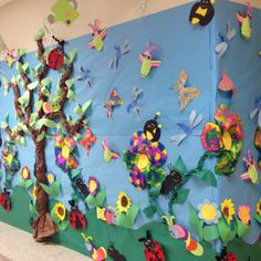 Our spring wall at school. All of our kids art work for spring!