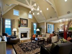 love this room with ceiling beams.