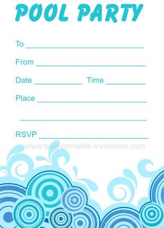 pool party invitations templates free - free printable pool party invitation template from