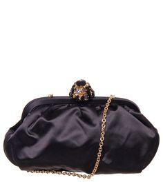 Dolce & Gabbana Black Satin Clutch Bag