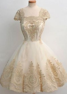 Gorgeous Lace! Vintage Square Neck High Waist Lace and Gauze Spliced Ball Gown Dress For Women #Gorgeous #Vintage #Stayle #Lace #Ball #Gown #Fashion
