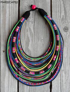 POLISH FOLK-inspired yarn-wrapped necklace / tribal / hippie / bohemian / folk / pink / colorful / rope