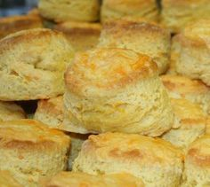 Easy cheese scones -- Mix 2 cups flour and 3 tsp baking powder in bowl. Add 1 cup grated cheese. In separate bowl mix 1/2 cup milk, 1 egg and 3 tsp vegetable oil. Mix this into the dry ingredients. Press onto clean floured surface using hands and cut with cutter or glass. Bake at 350F for 15-20 min.