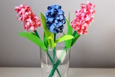 Hiacynty z papieru / Paper hyacinth (curly paper flowers) Origami Flowers, Paper Flowers, Glass Vase, Plants, Spring, Christmas, Diy, Curly, Home Decor